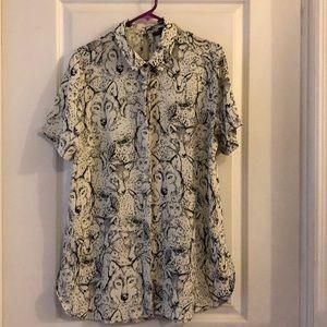 TOPSHOP wolf printed shirt. US 10.